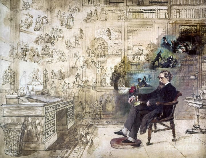 charles dickens in his study imagining works of fiction