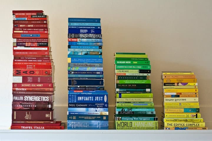 stacks of books in different colors