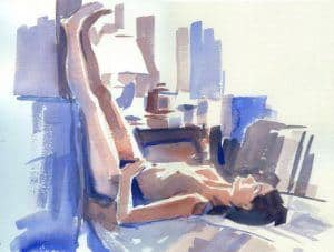 painting of a person relaxing with feet up