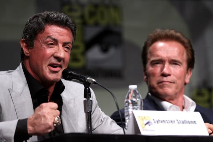 arnold and stallone well dressed fit