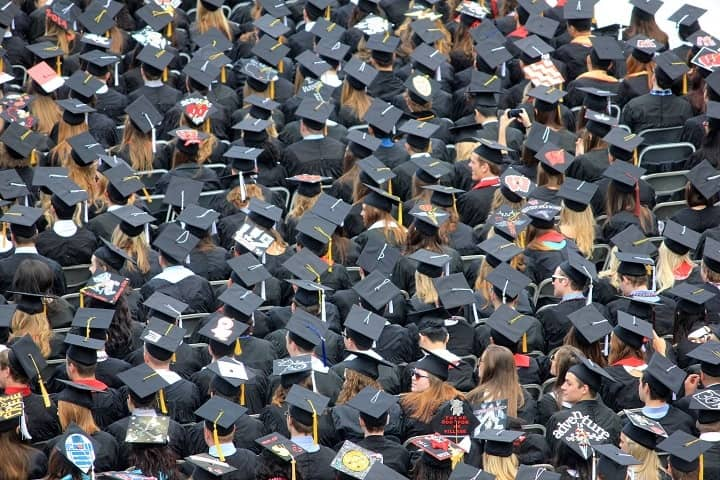 aerial view of student graduates wearing hats