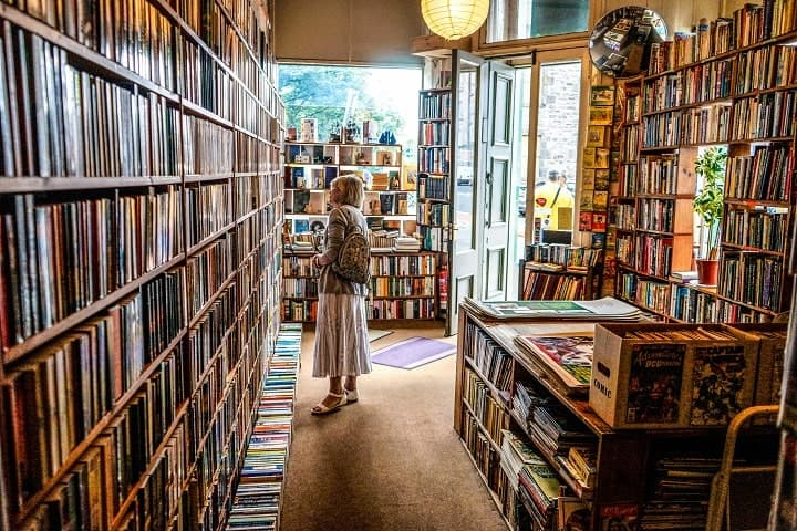 woman inside of a bookstore