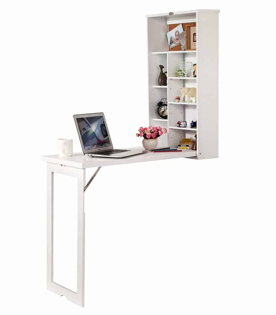 Wooden-Life Fold-Out Convertible Wall Mount Desk - White