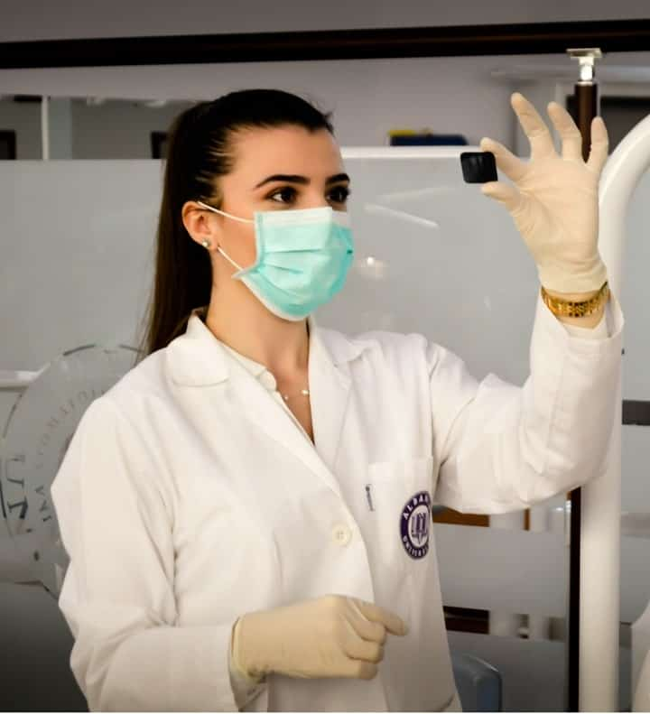 a pre-med student in a laboratory
