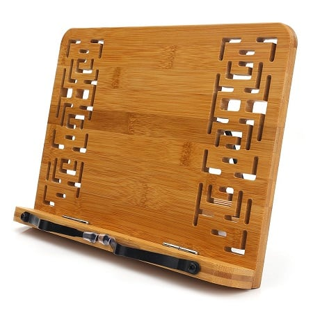 BamBoo Book Stand With Retro Hollow Elegant Pattern
