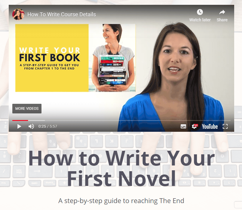 how to write your first novel course screenshot