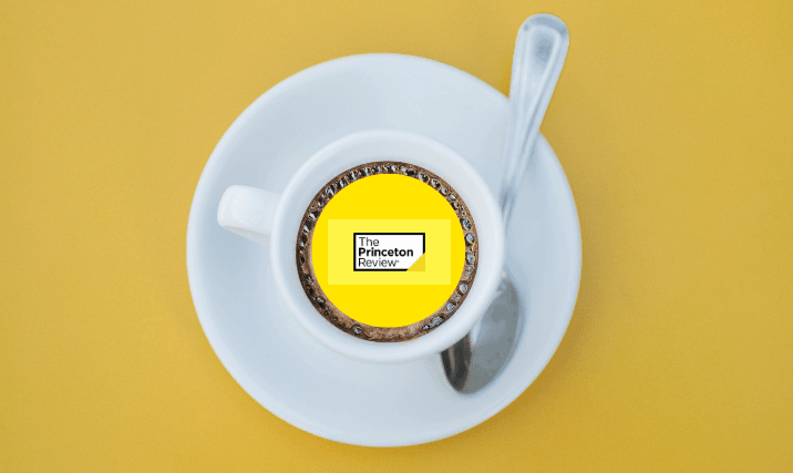 the princeton review logo in a coffee cup