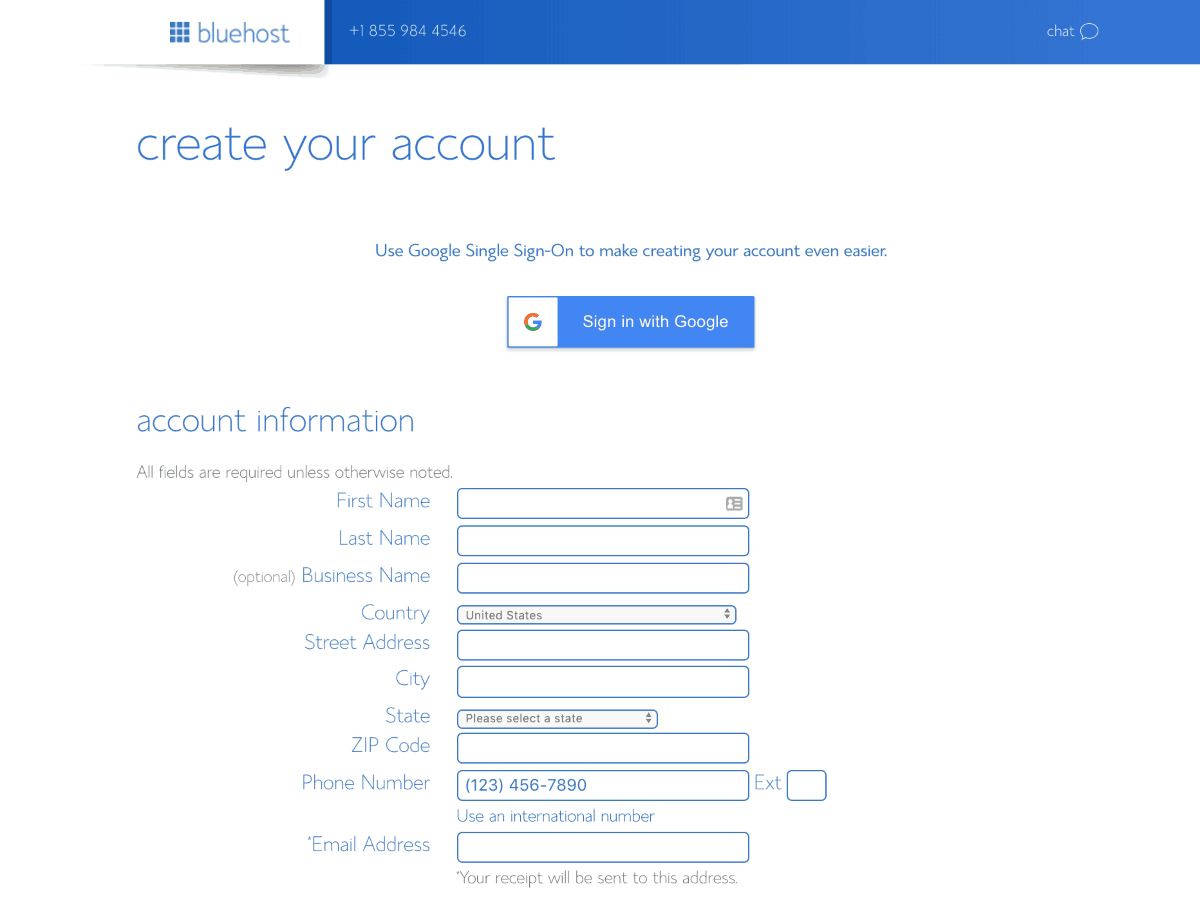 bluehost account creation