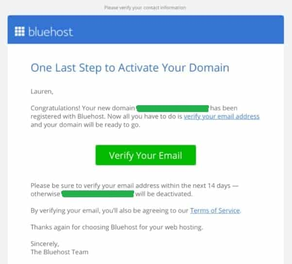 veryfying your hosting account