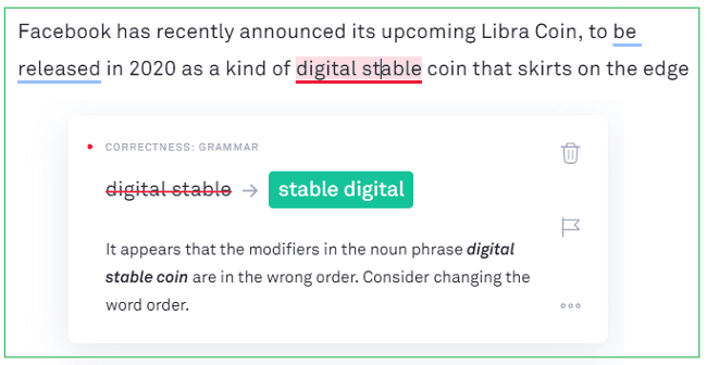 grammarly incorrect suggestion