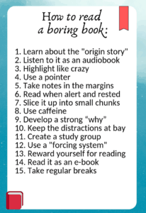 how to read a boring book - infographic