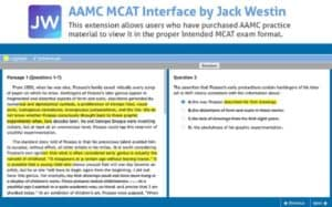 mcat interface with highlights