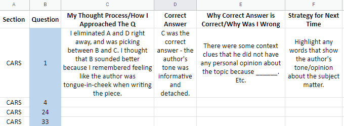 mcat question analysis in a spreadsheet