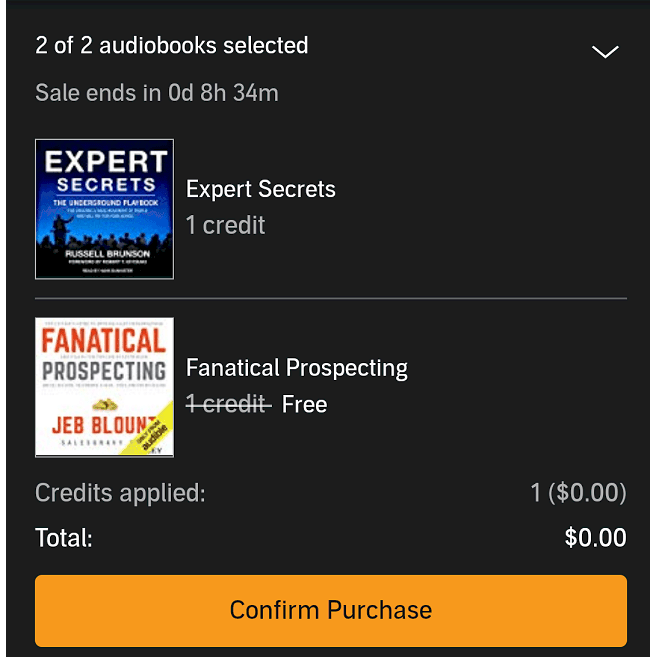 audible 2 for 1 promotion screenshot