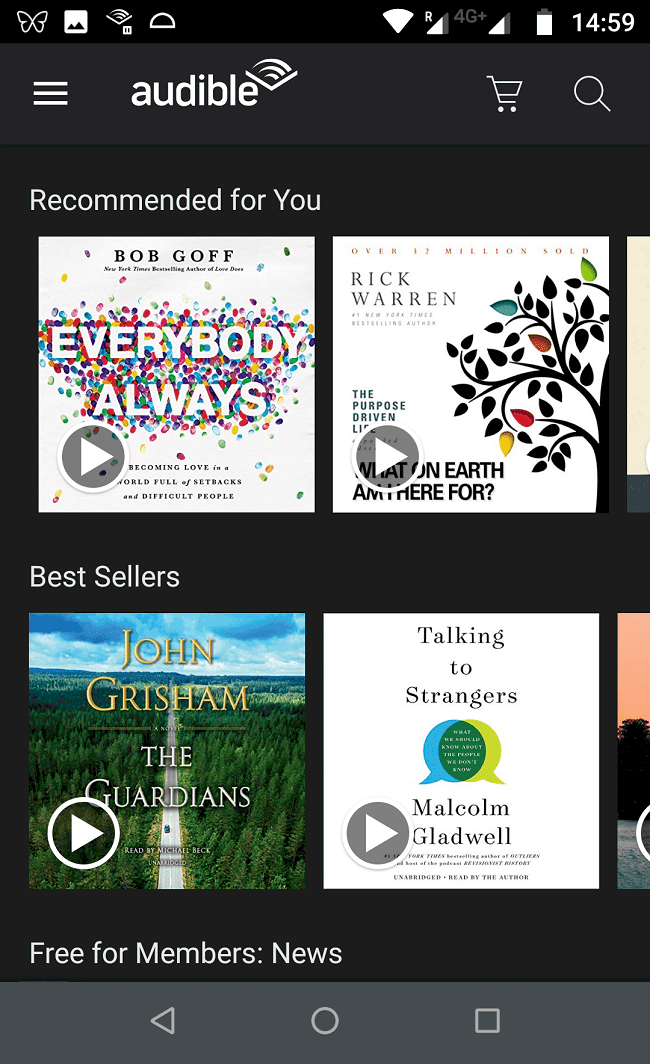 audible browse audiobooks feature