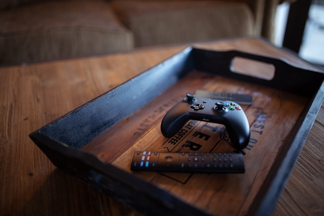 a tray with a gaming pad on it