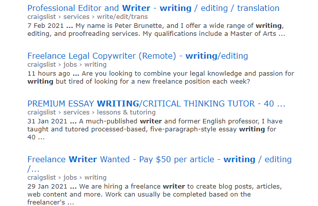 searching craigslist for writing jobs