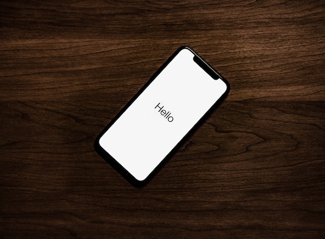 A smart phone with hello sign on the screen