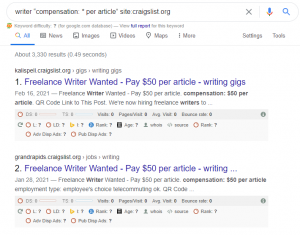 searching google for craigslist writing jobs